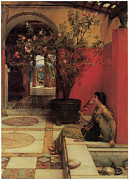 Beautiful Flowers Paintings - The Oleander by Sir Lawrence Alma-Tadema