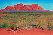 Landscape Greeting Cards Pastels Framed Prints - The Olgas Kata Tjuta National Park Northern territory Australia Framed Print by Judith Chantler