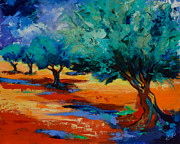 Landscape Greeting Card Painting Originals - The Olive Trees Dance by Elise Palmigiani
