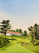 Us Open Painting Framed Prints - The Olympic Club - 18Th Hole Framed Print by Bill Holkham