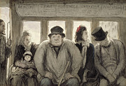 Travel Drawings Posters - The Omnibus Poster by Honore Daumier