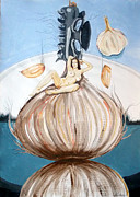 The Onion Maiden And Her Hair La Doncella Cebolla Y Su Cabello Print by Lazaro Hurtado