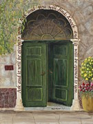French Door Paintings - The Open Door w Scripture by Mona Elliott