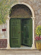 French Door Paintings - The Opened Door by Mona Elliott