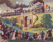 Waving Flag Framed Prints - The opening of the Stockton and Darlington Railway Macmillan Poster Framed Print by Norman Howard