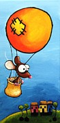 Hot Air Balloon Painting Posters - The Orange Balloon Poster by Lucia Stewart