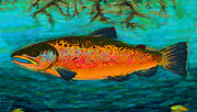 Angling Pastels - The Orange Brown Trout  by Darryl Gibbs