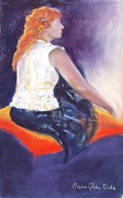 Clothed Figure Posters - The Orange Pillow Poster by Marie-Claire Dole