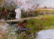 Peaceful Pond Paintings - The Orchard Brook  by Thomas Mackay