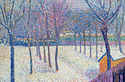 Fences Paintings - The Orchard under the Snow  by Hippolyte Petitjean
