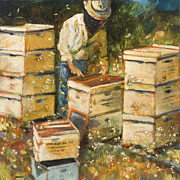 Expressionist Paintings - The Organization of Bees by Jen Norton