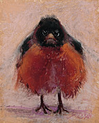 Red Art Pastels Prints - The Original Angry Bird Print by Billie Colson