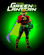 Justice League Posters - The Original Green Lantern Poster by Mista Perez Cartoon Art