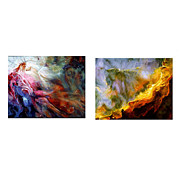 Swan Nebula Paintings - The Orion and Swan Nebulas A Paired  Set Of Paintings by Eleanor Gilpatrick