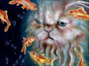 Humorous Cat Paintings - The other side of midnight by Hiroko Sakai