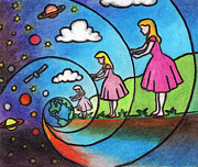 Planets Pastels - The Other Side of the Rabbit Hole by Ashley King