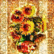 Mo T Mixed Media Posters - The other Sunflowers Poster by Mo T