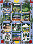 Quilt Posters - The Outdoor Quilt Poster by Jennifer Lake
