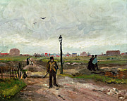 Lamp Post Framed Prints - The Outskirts of Paris Framed Print by Vincent van Gogh