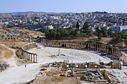 Roman Ruins Posters - The Oval Plaza at Jerash in Jordan Poster by Robert Preston