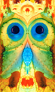 Quirky Painting Posters - The Owl - Abstract Bird Art by Sharon Cummings Poster by Sharon Cummings