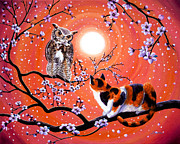 Sakura Paintings - The Owl and the Pussycat in Peach Blossoms by Laura Iverson