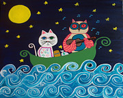 Owl Paintings - The Owl and The Pussycat by Kerri Ambrosino GALLERY