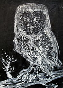Owl Picture Prints - THE OWL on the BRANCH - oil portrait Print by Fabrizio Cassetta
