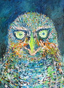 Owl Picture Framed Prints - THE OWL.1 - oil portrait Framed Print by Fabrizio Cassetta