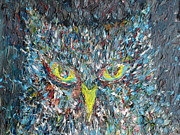 Owl Picture Framed Prints - THE OWL.2 - oil portrait Framed Print by Fabrizio Cassetta