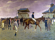 Horse Race Paintings - The Owner s Enclosure Newmarket by Isaac Cullen