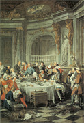 Dinner Paintings - The Oyster Lunch by Jean-Francois De Troy