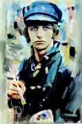 Beatles Drawings Originals - The Painted Heart  Ringo Starr by Iconic Images Art Gallery David Pucciarelli