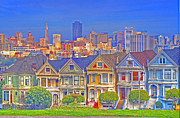 Alamo Square Framed Prints - The Painted Ladies Framed Print by Alberta Brown Buller