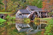 Grist Mill Art - The Painted Mill by Dan Stone