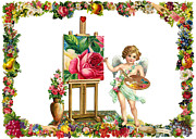 Vintage Painter Digital Art Framed Prints - The Painter Framed Print by Munir Alawi