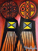Tribal Art Gallery Paintings - The Pairing by Ephrem Kouakou