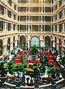 Atriums Framed Prints - The Palace Hotel Court In San Francisco Ca 1905 Framed Print by Dwight Goss