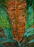 Mindy Newman Drawings - The Palm Leaf by Mindy Newman