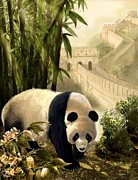 The Panda Bear And The Great Wall Of China Print by Gina Femrite