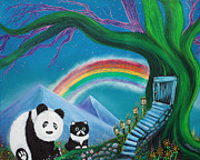 Panda Bear Paintings - The Panda The Cat and The Rainbow by Laura Barbosa