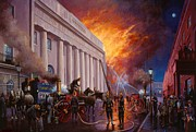 Streetscene Paintings - The Pantechnicon fire. 1874. by Mike  Jeffries