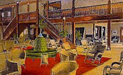 Amusement Parks Paintings - The Park Hotel In Cedar Point Oh C.1910 by Dwight Goss