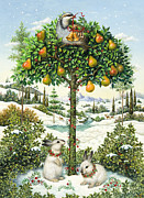 Pear Tree Painting Posters - The Partridge in a Pear Tree Poster by Lynn Bywaters