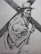 Native Chief Drawings - The Passion-sketch by Derrick Higgins