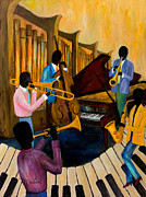 Trombone Paintings - The Pastels by Larry Martin