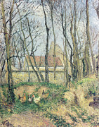 Gloomy Trees Posters - The Path of the Wretched Poster by Camille Pissarro