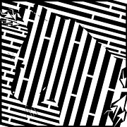 Op Art Drawings Posters - The Patient Hunting Cat Maze Poster by Yonatan Frimer Maze Artist