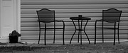 Patio Table And Chairs Posters - THE PATIO CHAIRS in BLACK AND WHITE Poster by Rob Hans