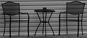 Patio Table And Chairs Posters - THE PATIO in BLACK AND WHITE Poster by Rob Hans